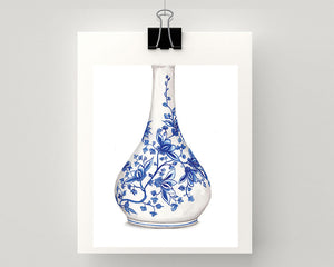 Print of Blue and white china vase with flower print