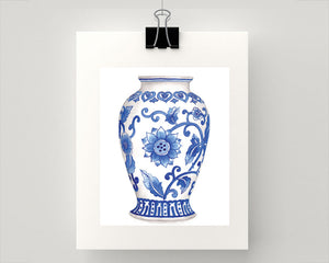 Print of a Blue and white flower China vase