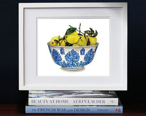 Print of lemons in a blue and white bowl