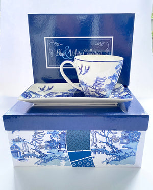 Blue and white bone china - Tea for One  - Modern Willow design