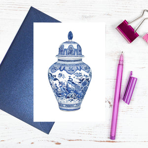 Traditional blue and white ming vase card