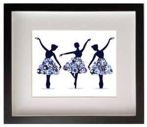 Print of Blue and white chinoiserie ballerina's.