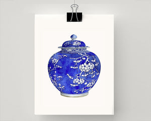 Print of Blue and white fat cherry ming