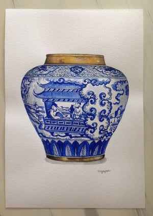 Original Watercolour Painting of Little Chinamen in Blue and White Vase