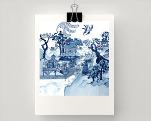 Print of popular blue and white chinoiserie Willow design