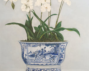 Original Oil painting of Orchids in traditional blue and white pot