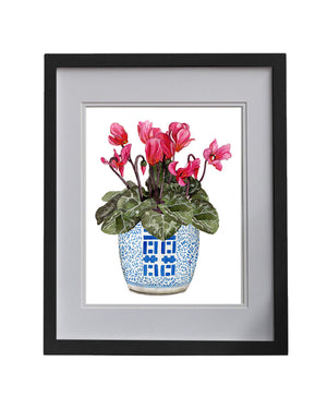 Print of cyclamens in double happiness jar