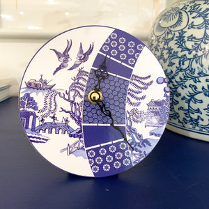 Blue and white desk clock with a modern twist on the signature Willow print