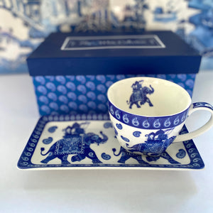 Blue and white bone china - Tea for One  - elephant design