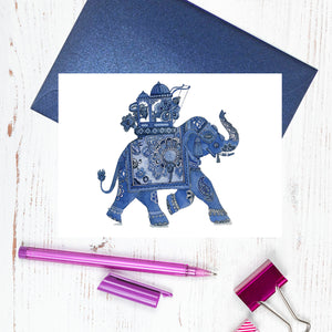 Blue and white good luck elephant card