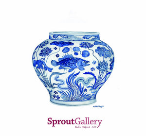 Original Watercolour Painting Blue and White Porcelain 'Fish' Jar Yuan Dynasty, Mid 14th Century