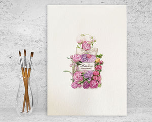 Original Watercolour Painting of Miss Dior Blooming Bouquet of flowers