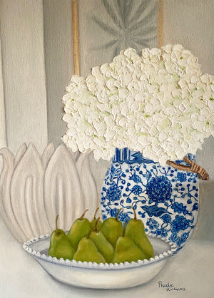 Original Oil painting. Still life pears with hydrangeas in blue and white vase