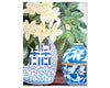Original Oil painting fragapani in blue and white ming