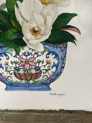 Original Watercolour Painting of PRINT OF ORCHID ANTIQUE PINK ROSE LOTUS BOWL FROM JIAQING PERIOD