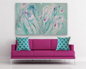Original oil on canvas Floral Symphony of lilies