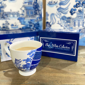 Blue and white bone china Modern Willow design large tea cup MUG