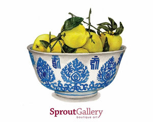 Original Watercolour Painting of Lemons in a Blue and White Bowl