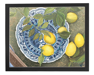 Limited edition print of lemons on a blue and white plate