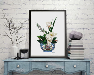 Print of magnolias in blue 'Yangcai' antique floral bowl from the Qianlong period