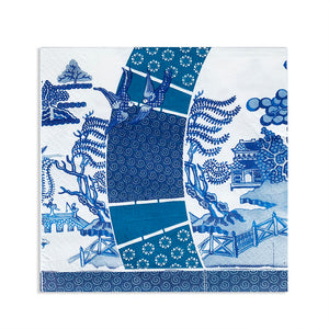 Paper napkins in blue and white Willow heart design