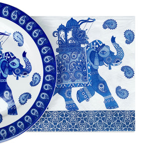 Paper napkins in blue and white elephant design