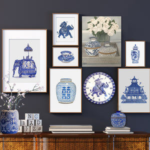 Blue and white good luck elephant wall clock