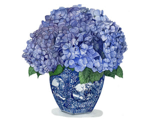 Copy of Original Watercolour Painting Blue and White vase with gorgeous hydrangeas