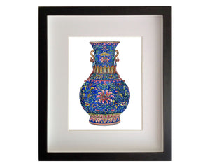 Print of intricately patterned and rare Yangcai blue ground 'lotus' vase