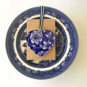 Blue and white ceramic ornament - new ornate peonies