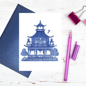 Blue and white pagoda card