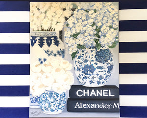 Original Oil painting blue and white Mings with books