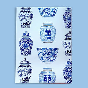 Bespoke blue and white ming jar sheet of wrapping paper sheet