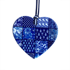 Blue and white ceramic ornament -  Chinoiserie patchwork