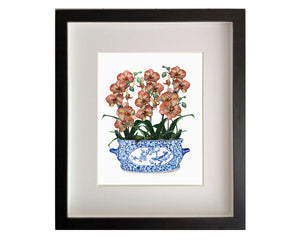 Blue and white chinoiserie planter with peach orchids