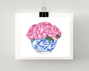 Pale pink peonies 3 in a blue and white bowl