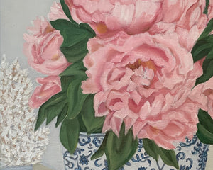 Original Oil painting. Bouquet of  pink peonies in blue and white vase.
