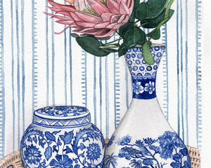 Original Watercolour Painting of a beautiful chinoiserie vignette in rattan tray.