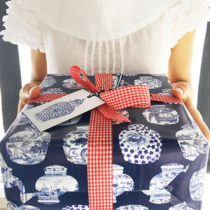 Bespoke blue and white ginger jar designer wrapping kit