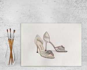 "Original Watercolour Painting of Manolo Blahnik - Silver D'Orsay shoes ""Sex and The City"