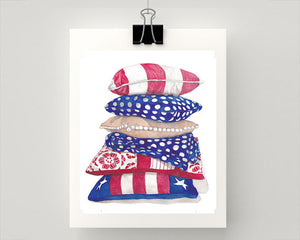 Print of stacked Red, White and Blue Cushions