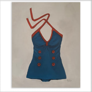 Original Oil painting of vintage ONE PIECE bathing suit