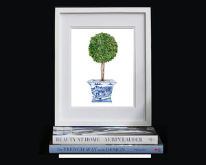 Print of topiary tree in blue and white pot
