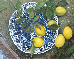 Original Oil painting. Still life of lemons on a blue and white plate.