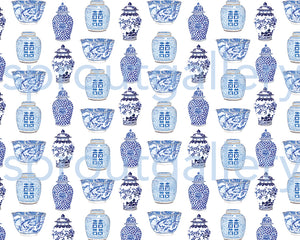 Bespoke blue and white Willow wrapping paper sheet