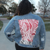White Abstract V.2 Denim Jacket