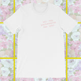 millenial pink way too introverted for this side pocket t-shirt unisex by fun cult