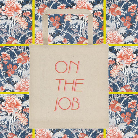 On the job Square bottom canvas tote bag by fun cult