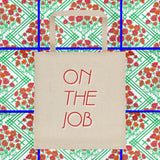 On The Job tote bag by FUN CULT red and pink font square bottom canvas tote