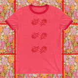 Feeling Rosy graphic red rose print ringer tshirt by FUN CULT